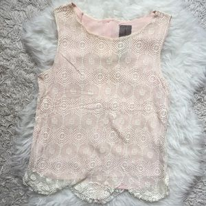 Tops - Pink and White Lace Top